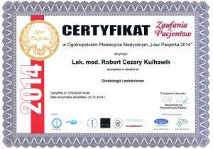 Lek. med. Robert Cezary Kulhawik - Ginekolog. Certyfikat zaufania pacjentek 2014
