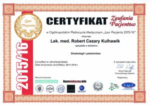 Lek. med. Robert Cezary Kulhawik - Ginekolog. Certyfikat zaufania pacjentek 2016